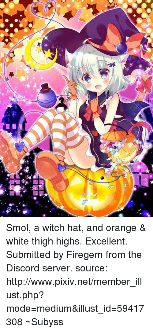 366d74db07d51 Ci 督は Smol a Witch Hat and Orange & White Thigh Highs Excellent ...