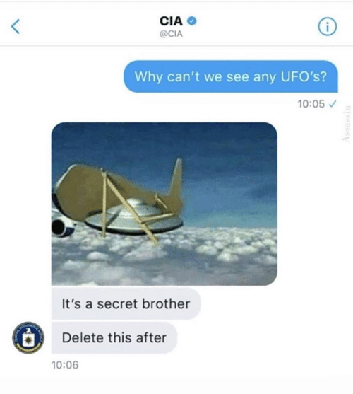 Memes, 🤖, and Cia: CIA  @CIA  Why can't we see any UFO's?  10:05  It's a secret brother  Delete this after  10:06