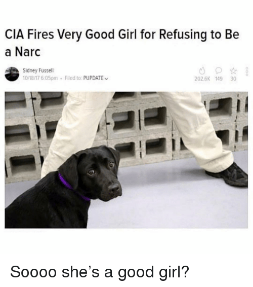Memes, Girl, and Good: CIA Fires Very Good Girl for Refusing to Be  a Narc  Sidney Fussell  10/18/17 6:05pm  Filed to: PUPDATE  202.6K 149 30 Soooo she's a good girl?