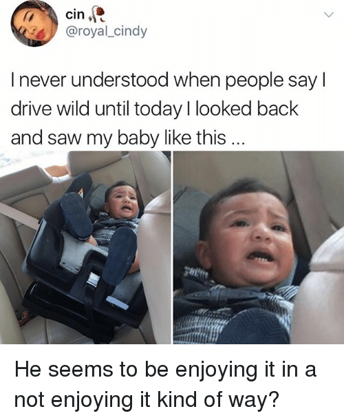 Memes, Saw, and Drive: cin  @royal_cindy  I never understood when people say l  drive wild until today I looked back  and saw my baby like this He seems to be enjoying it in a not enjoying it kind of way?