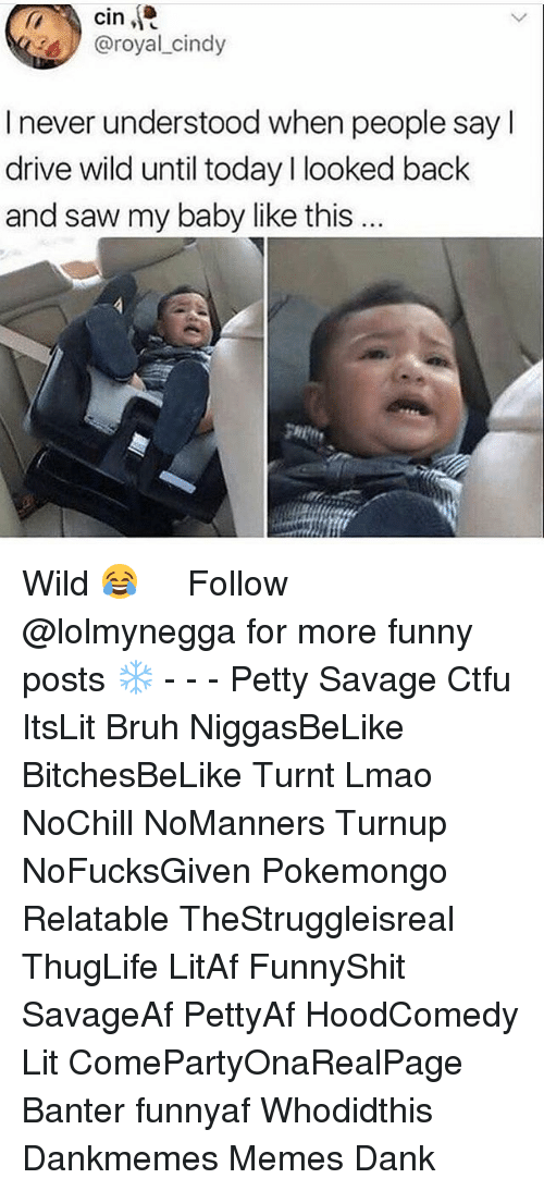 Bruh, Ctfu, and Dank: cin  @royal cindy  I never understood when people sayl  drive wild until today l looked back  and saw my baby like this  gHit Wild 😂   ⁶𓅓 ➫➫ Follow @lolmynegga for more funny posts ❄️ - - - Petty Savage Ctfu ItsLit Bruh NiggasBeLike BitchesBeLike Turnt Lmao NoChill NoManners Turnup NoFucksGiven Pokemongo Relatable TheStruggleisreal ThugLife LitAf FunnyShit SavageAf PettyAf HoodComedy Lit ComePartyOnaRealPage Banter funnyaf Whodidthis Dankmemes Memes Dank