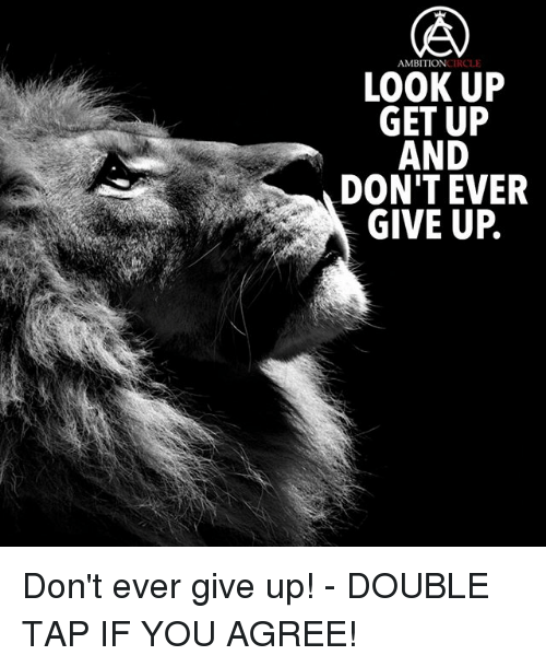 Memes, 🤖, and Tap: CIRCLE  AMBITION  LOOK UP  GET UP  AND  DON'T EVER  GIVE UP Don't ever give up! - DOUBLE TAP IF YOU AGREE!