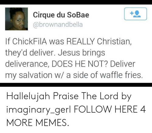 Dank, Hallelujah, and Jesus: Cirque du SoBae  abrownandbella  If ChickFilA was REALLY Christian,  they'd deliver. Jesus brings  deliverance, DOES HE NOT? Deliver  my salvation w/ a side of waffle fries Hallelujah Praise The Lord by imaginary_gerl FOLLOW HERE 4 MORE MEMES.