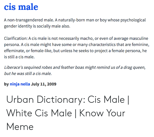 Cis Male a Non-Transgendered Male a Naturally-Born Man or