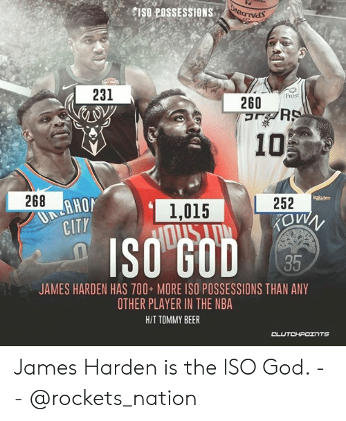 Beer, God, and James Harden: CISO POSSESSIONS  231  Frost  260  268  Rgkuten  252  1,015  CITY  35  JAMES HARDEN HAS 700 MORE ISO POSSESSIONS THAN ANY  OTHER PLAYER IN THE NBA  H/T TOMMY BEER James Harden is the ISO God. -- @rockets_nation