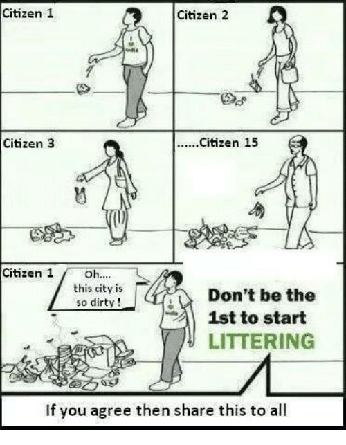 Memes, Dirty, and 🤖: Citizen 1  Citizen 2  Citizen 3  Citizen 1  this city is  so dirty !  Don't be the  1st to start  LITTERING  en-  If you agree then share this to all