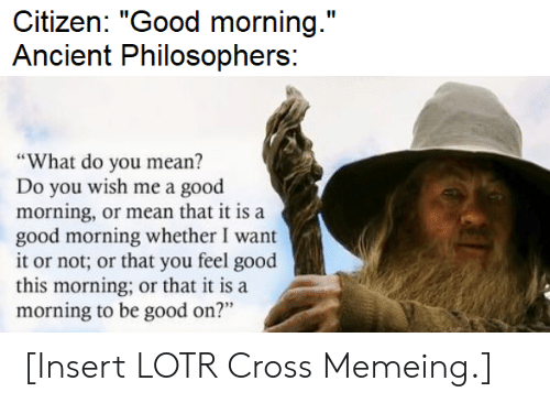 "Good Morning, Cross, and Good: Citizen: ""Good morning.""  Ancient Philosophers:  ""What do you mean?  Do you wish me a good  morning, or mean that it is a  good morning whether I want  it or not; or that you feel good  this morning; or that it is a  morning to be good on?"" [Insert LOTR Cross Memeing.]"