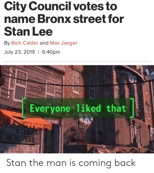 City Council Votes to Name Bronx Street for Stan Lee by Rich Calder
