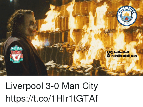 Memes, Liverpool F.C., and 🤖: CITY  OOTro  TrollFootball  TheTrollFootball Insta  LIVERPOOL Liverpool 3-0 Man City https://t.co/1HIr1tGTAf