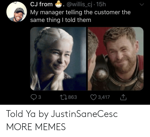 Dank, Memes, and Target: CJ from .@willis_cj 15h  My manager telling the customer the  same thing I told them  0863 3,417 Told Ya by JustinSaneCesc MORE MEMES
