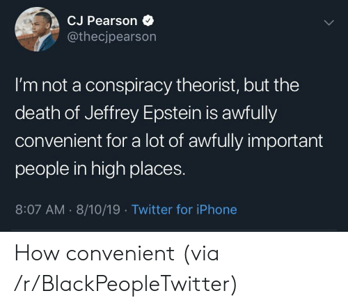 Blackpeopletwitter, Iphone, and Twitter: CJ Pearson  @thecjpearson  I'm not a conspiracy theorist, but the  death of Jeffrey Epstein is awfully  convenient for a lot of awfully important  people in high places.  8:07 AM 8/10/19 Twitter for iPhone How convenient (via /r/BlackPeopleTwitter)