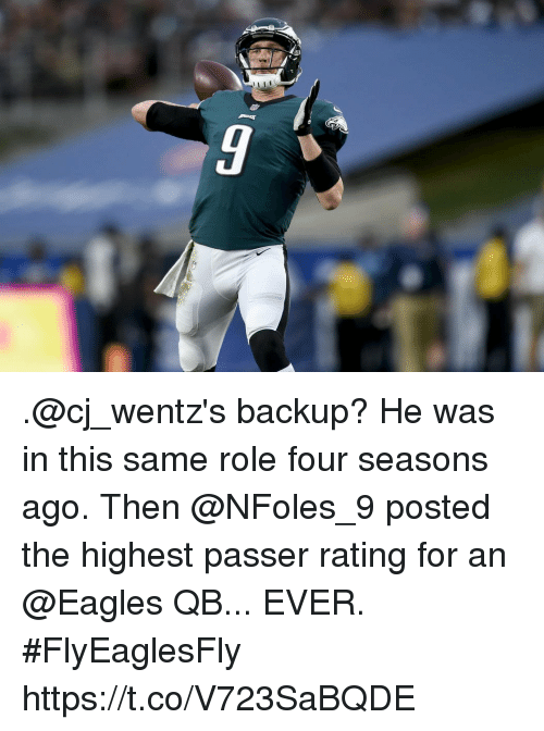 Philadelphia Eagles, Memes, and 🤖: .@cj_wentz's backup? He was in this same role four seasons ago.  Then @NFoles_9 posted the highest passer rating for an @Eagles QB... EVER. #FlyEaglesFly https://t.co/V723SaBQDE