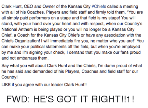 clark hunt ceo and owner of the kansas city #chiefs called a meeting