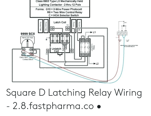 Class 8903 Type LX Mechanically Held Lighting Contactor 2 Thru 12 Pole  Forms G10 3-Wire Power Photocell R6 Two Wire Control Relay C HOA Selector  Switch Latch Coil CH1 14 C ONMEME