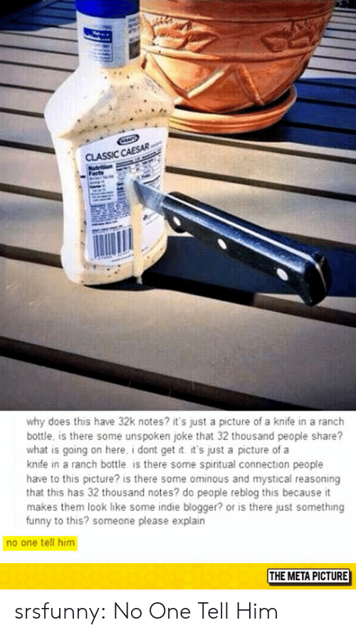 Funny, Tumblr, and Blog: CLASSIC CAESAR  why does this have 32k notes? it's just a picture of a knife in a ranch  bottle, is there some unspoken joke that 32 thousand people share?  what is going on here, i dont get t it's just a picture of a  knife in a ranch bottle is there some spiritual connection people  have to this picture? is there some ominous and mystical reasoning  that this has 32 thousand notes? do people reblog this because it  makes them look like some indie blogger? or is there just something  funny to this? someone please explain  no one tell him  THE META PICTURE srsfunny:  No One Tell Him