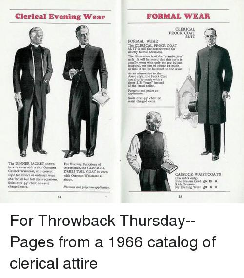Clerical Evening Wear The Dinner Jacket Shown For Evening Functions