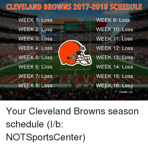Cleveland Browns, Lol, and Nfl: CLEVELAND BROWNS 2017 2018 SCHEDULE  WEEK 1: Loss  WEEK 9: Loss  WEEK 2: Loss  WEEK 10: Loss  WEEK 3: Loss  WEEK 11: Loss  WEEK 4: Loss  WEEK 12: Loss  WEEK 13: Loss  WEEK 5: Loss  WEEK 6: Loss  WEEK 14: Loss  WEEK 7: Loss  WEEK 15: Loss  WEEK 8: Loss  WEEK 16: Loss  Playoffs: LOL Your Cleveland Browns season schedule (I/b: NOTSportsCenter)