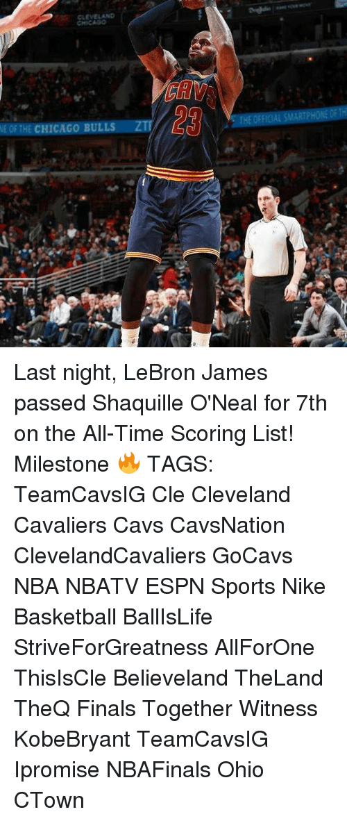 Basketball, Cavs, and Chicago: CLEVELAND  NE THE CHICAGO BULLS  ZI  THE ORFK AL SMARTPHONE Last night, LeBron James passed Shaquille O'Neal for 7th on the All-Time Scoring List! Milestone 🔥 TAGS: TeamCavsIG Cle Cleveland Cavaliers Cavs CavsNation ClevelandCavaliers GoCavs NBA NBATV ESPN Sports Nike Basketball BallIsLife StriveForGreatness AllForOne ThisIsCle Believeland TheLand TheQ Finals Together Witness KobeBryant TeamCavsIG Ipromise NBAFinals Ohio CTown