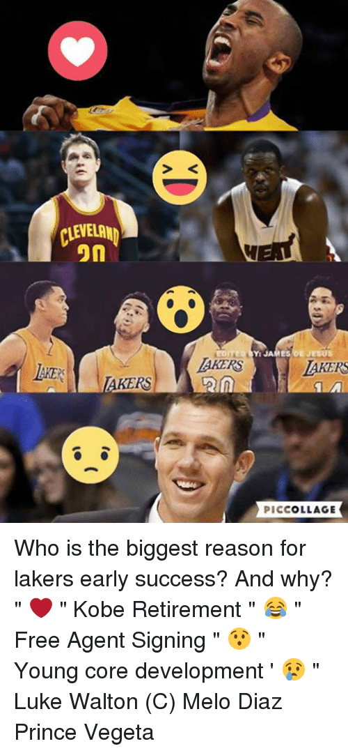 """Luke Walton, Memes, and Prince: CLEVELAND  on  AKERS  EDITED JAMES JESUS  LAKERS  PICCOLLAGE Who is the biggest reason for lakers early success? And why?  """" ❤️ """" Kobe Retirement """" 😂 """" Free Agent Signing """" 😯 """" Young core development ' 😢 """" Luke Walton  (C) Melo Diaz  Prince Vegeta"""