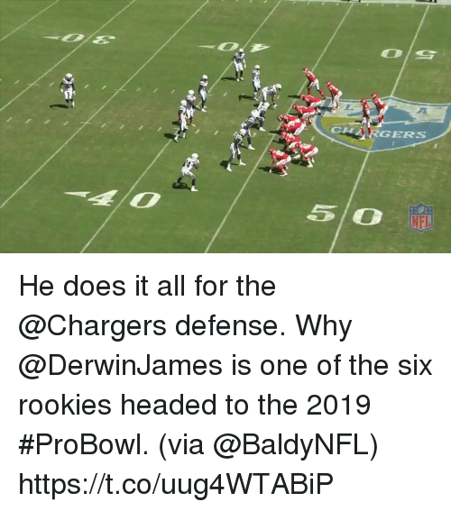 Memes, Nfl, and Chargers: CLH  HARGERS  NFL He does it all for the @Chargers defense.  Why @DerwinJames is one of the six rookies headed to the 2019 #ProBowl. (via @BaldyNFL) https://t.co/uug4WTABiP