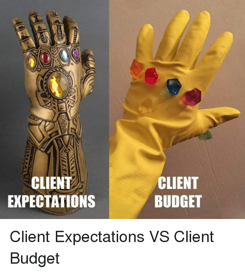 Budget, Client, and Expectations: CLIENT  EXPECTATIONS  CLIENT  BUDGET Client Expectations VS Client Budget