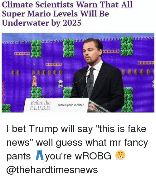 "Fake, I Bet, and Memes: Climate Scientists Warn That All  Super Mario Levels Will Be  I ndt.rw.iler b丶-'#2、  Before the  LU.D.D.  エPorts pour le climat I bet Trump will say ""this is fake news"" well guess what mr fancy pants 👖you're wROBG 😤 @thehardtimesnews"