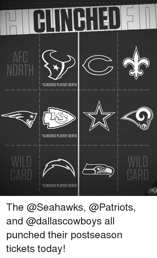 """Memes, Patriotic, and Sports: CLINCHED  NORTH  *CLINCHED PLAYOFF BERTH  """"CLINCHED PLAYOFF BERTH  1-  WILD  CARD  CARD  *CLINCHED PLAYOFF BERTH  FOX  SPORTS The @Seahawks, @Patriots, and @dallascowboys all punched their postseason tickets today!"""