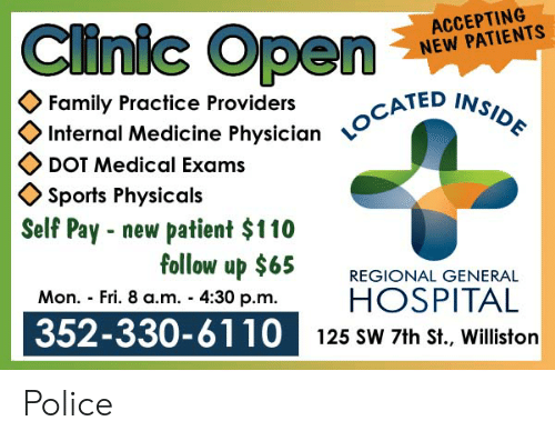 Clinic Open ACCEPTING NEW PATIENTS Family Practice Providers