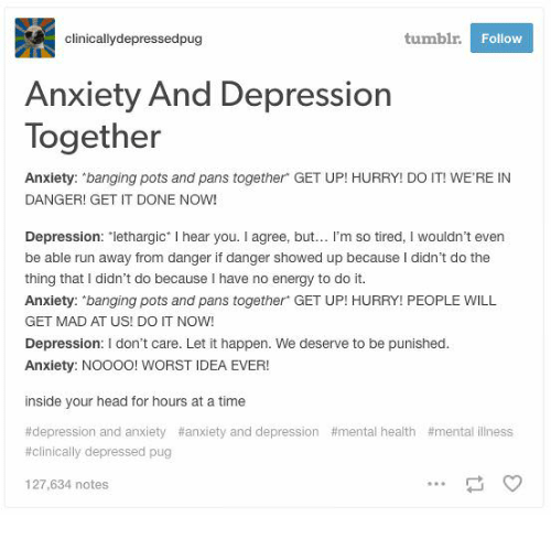 Clinicallydepressedpug Tumblr Follow Anxiety and Depression
