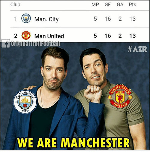 Club, Memes, and United: Club  MP GF GA Pts  1Man. City  5 16 2 13  5 16 2 13  2Man United  #AZR  CHES  CHEST  UNITEO  18  CITY  WE ARE MANCHESTER