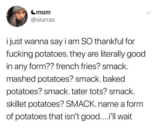 Baked, Fucking, and Good: Cmom  @siurras  i just wanna say i am SO thankful for  fucking potatoes. they are literally good  in any form?? french fries? smack.  mashed potatoes? smack. baked  potatoes? smack. tater tots? smack.  skillet potatoes? SMACK. name a form  of potatoes that isn't good....'ll wait