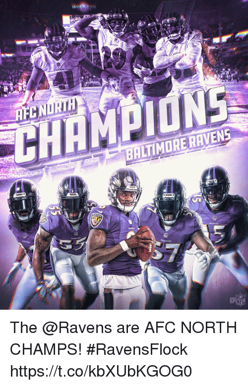 Baltimore Ravens, Memes, and Nfl: CN  CHAMPIONE  BALTIMORE RAVENS  NFL The @Ravens are AFC NORTH CHAMPS! #RavensFlock https://t.co/kbXUbKGOG0