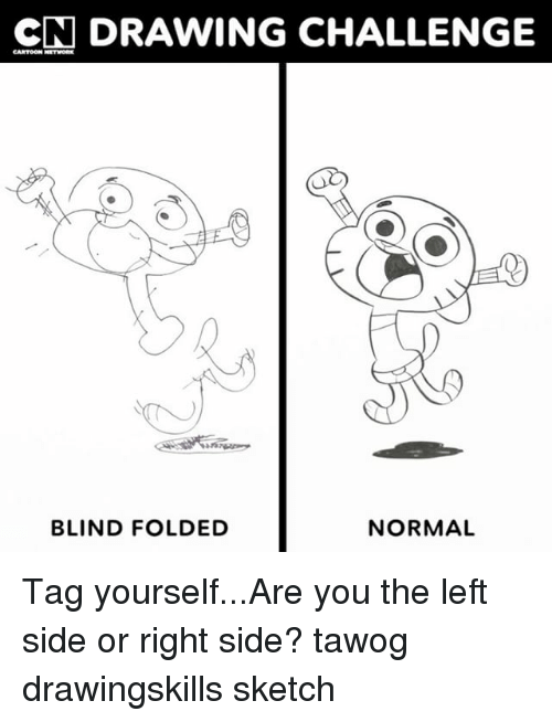Memes, 🤖, and Tawog: CN DRAWING CHALLENGE  BLIND FOLDED  NORMAL Tag yourself...Are you the left side or right side? tawog drawingskills sketch