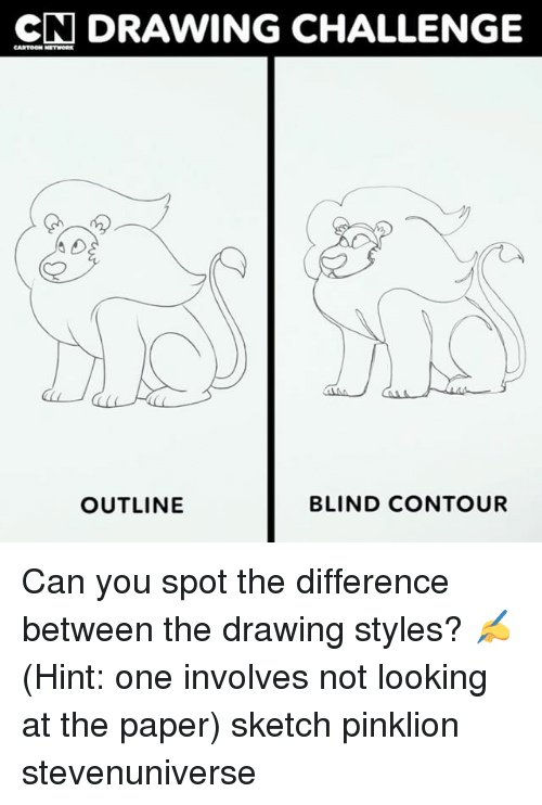 Memes, Cartoon, and 🤖: CN DRAWING CHALLENGE  CARTOON NETMORE  OUTLINE  BLIND CONTOUR Can you spot the difference between the drawing styles? ✍️ (Hint: one involves not looking at the paper) sketch pinklion stevenuniverse