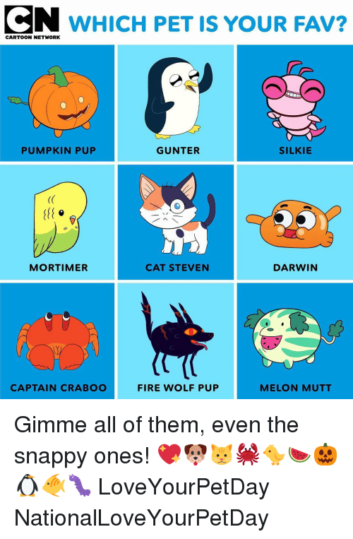 Cartoon Network, Fire, and Memes: CN WHICH PET IS YOUR FAV?  CARTOON NETWORK  PUMPKIN PUP  GUNTER  SILKIE  (C  MORTIMER  CAT STEVEN  DARWIN  CAPTAIN CRABOO  FIRE WOLF PUP  MELON MUTT Gimme all of them, even the snappy ones! 💖🐶🐱🦀🐤🍉🎃🐧🐠🐛 LoveYourPetDay NationalLoveYourPetDay
