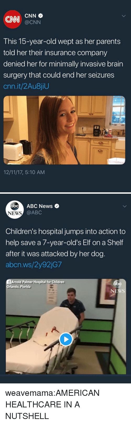 Abc, Children, and cnn.com: CNI CNN  @CNN  This 15-year-old wept as her parents  told her their insurance company  denied her for minimally invasive brain  surgery that could end her seizures  cnn.it/2Au8jiU  12/11/17, 5:10 AM   abcABC News  NEWS  @ABC  Children's hospital jumps into action to  help save a 7-year-old's Elf on a Shelf  after it was attacked by her dog  abcn.ws/2y92jG7  fArnold Palmer Hospital for Children  Orlando, Florida  bc  NEWS weavemama:AMERICAN HEALTHCARE IN A NUTSHELL