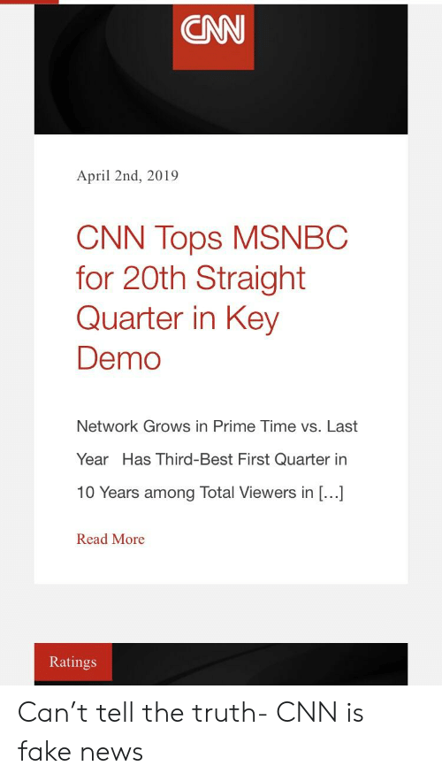 CNN April 2nd 2019 CNN Tops MSNBC for 20th Straight Quarter