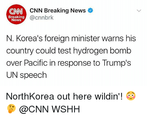 cnn.com, Memes, and News: CNN Breaking News .  @cnnbrk  CNN  Breaking  News  N. Korea's foreign minister warns his  country could test hydrogen bomb  over Pacific in response to Trump's  UN speech NorthKorea out here wildin'! 😳🤔 @CNN WSHH