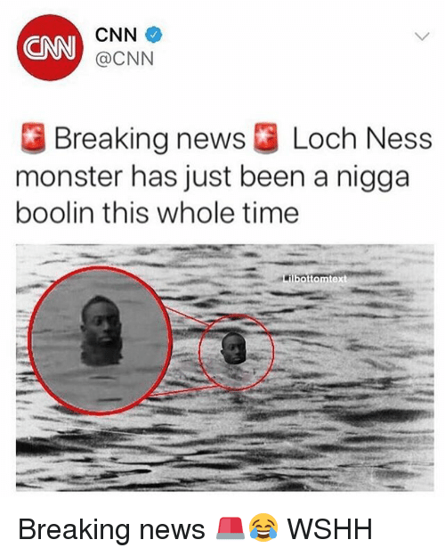 cnn.com, Loch Ness Monster, and Memes: CNN  CNN  @CNN  Breaking news ] Loch Ness  monster has just been a nigga  boolin this whole time  bottomtext Breaking news 🚨😂 WSHH