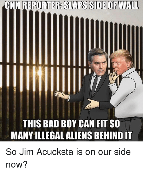 Bad, cnn.com, and Aliens: CNN REPORTER: SLAPS SIDE OF WALL  THIS BAD BOY CAN FIT SO  MANY ILLEGAL ALIENS BEHIND IT