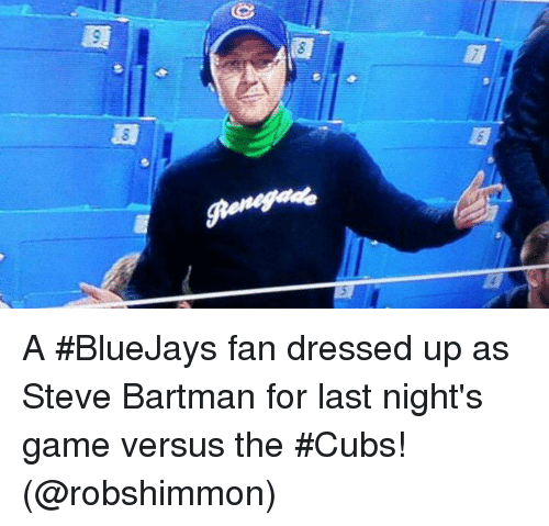 Co 8 A Bluejays Fan Dressed Up As Steve Bartman For Last Nights