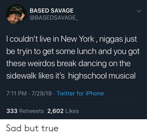 7/11, Dancing, and Iphone: co  BASED SAVAGE  @BASEDSAVAGE_  I couldn't live in New York, niggas just  be tryin to get some lunch and you got  these weirdos break dancing on the  sidewalk likes it's highschool musical  7:11 PM 7/29/19 Twitter for iPhone  333 Retweets 2,602 Likes Sad but true