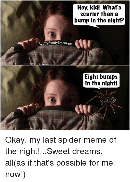 co hey kid whats scarier than a bump in the 23211290 ✅ 25 best memes about spiders meme spiders memes,Whats The Latest Meme