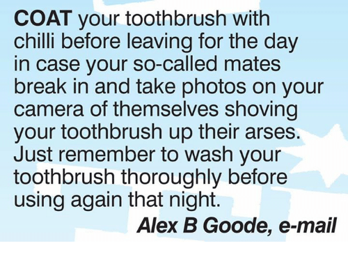 Memes, Break, and Camera: COAT your toothbrush with  chilli before leaving for the day  in case your so-called mates  break in and take photos on your  camera of themselves shoving  your toothbrush up their arses.  Just remember to wash your  toothbrush thoroughly before  using again that night.  Alex B Goode, e-mail