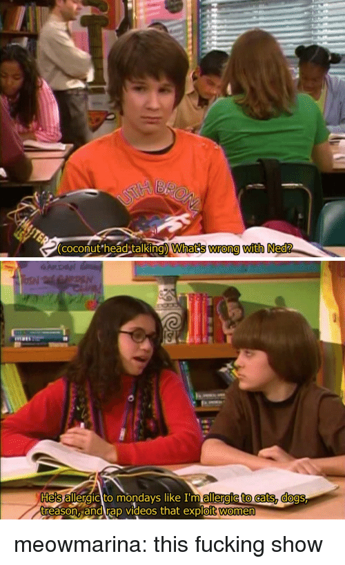 Cats, Dogs, and Fucking: (coconut head talking) What's wrong with Ned?   days like In  Hes allergic to mon allergic to cats, dogs  treason, and rap videos that exploit women meowmarina:  this fucking show