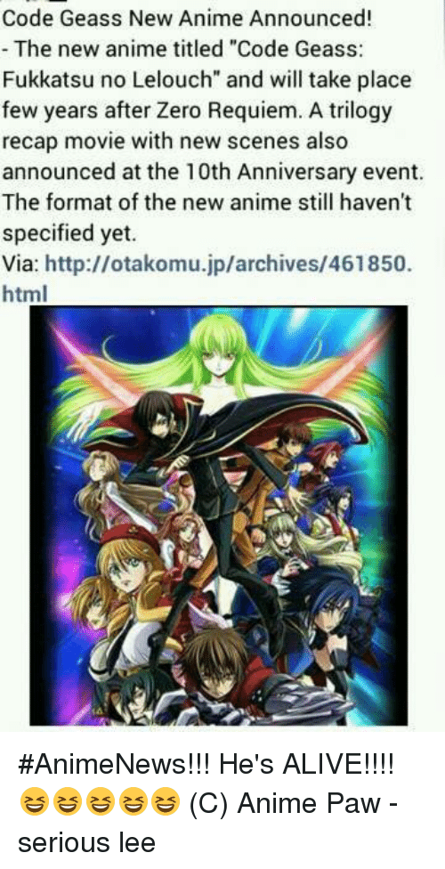 Code Geass New Anime Announced! The New Anime Titled Code Geass