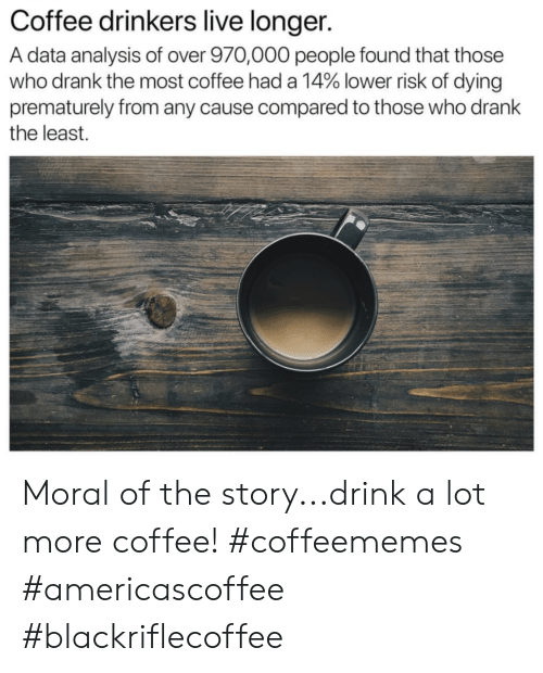 Coffee, Live, and Data: Coffee drinkers live longer.  A data analysis of over 970,000 people found that those  who drank the most coffee had a 14% lower risk of dying  prematurely from any cause compared to those who drank  the least. Moral of the story...drink a lot more coffee! #coffeememes #americascoffee #blackriflecoffee