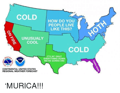 Cool, Forecast, and Live: COLD  HOW DO YOU  PEOPLE LIVE  LIKE THIS?  UNUSUALY  COOL  COLD  IT'S 39°1 SHUT  EVERYTHING DOWN  WE'RE GONNA DIE!  NOAA  CONTINENTAL UNITED STATES  REGIONAL WEATHER FORECAST 'MURICA!!!