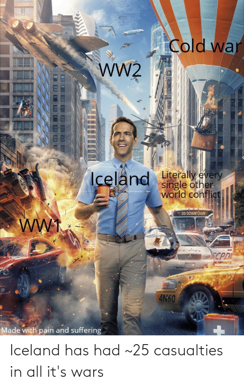 Cold War Iceland Literally Every Single Other World Confligt 33 Downtown Ww Cpd 4n60 Made With Pain And Suffering Iceland Has Had 25 Casualties In All It S Wars Iceland Meme On Me Me