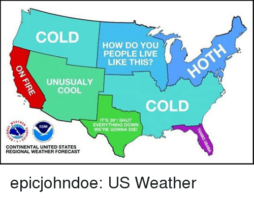 Tumblr, Blog, and Cool: COLDHOW DO YOu  PEOPLE LIVE  LIKE THIS?  UNUSUALY  COOL  COLD  IT'S 391 SHUT  EVERYTHING DOWN  WE'RE GONNA DIE  NORA  CONTINENTAL UNITED STATES  REGIONAL WEATHER FORECAST epicjohndoe:  US Weather